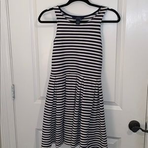Navy blue and white stripped dress.